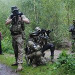 Group of airsofters attacking